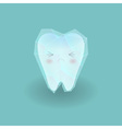 cute sad hyper sensitive tooth is frozen by ice vector image vector image