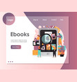 ebooks website landing page design template vector image