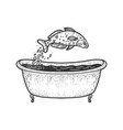 fish dives in bath sketch vector image vector image