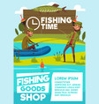 fisher men poster for fishing shop vector image vector image