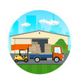 forklift loads or unloads boxes from a truck vector image vector image