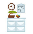 glossy chest of drawers wooden clocks and keys vector image