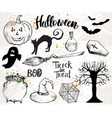 halloween elements and quotes vector image vector image