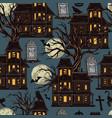 halloween night vintage seamless pattern vector image