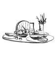hand drawn wares romantic dinner serving food vector image