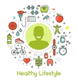 Healthy Lifestyle Line Art Thin Icons vector image vector image