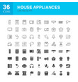 house appliances line web glyph icons vector image