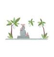 indonesia buddha statue semi flat rgb color vector image