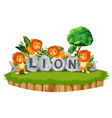 lion are playing together in the garden with stone vector image