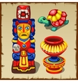mayan totem turtle and decorative vase vector image