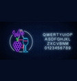 neon glowing sign wine store in circle frame vector image vector image
