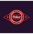 Poker Red Neon Sign vector image