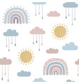 rainbows and sun seamless pattern vector image vector image