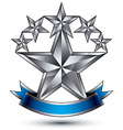 Renown silver star emblem with wavy ribbon 3d vector image vector image