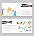 repair service tools set banners vector image vector image
