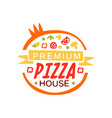 round flat pizza house logo template concept with vector image vector image