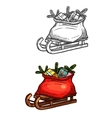 Santa Christmas sleigh with gifts sketch vector image vector image