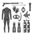 scuba diving equipment design elements vector image vector image