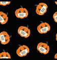 seamless pattern corona halloween pumpkins vector image