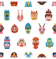 seamless pattern funny ethnic tribal masks vector image