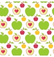 Seamless pattern with green red and yellow apples vector image vector image