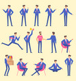 set flat design man character animation poses vector image vector image