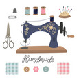 sewing kit vintage tailor s tools scissors vector image