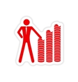 stylish sticker on paper man and stack of coins vector image vector image