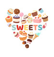 sweets heart with candies vector image vector image