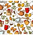 Tea time and desserts seamless background vector image