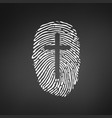 thumb prints or fingerprint with cross showing vector image
