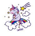 unicorn sitting on rainbow vector image vector image