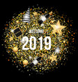 welcome 2019 with gold background template vector image vector image