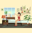 woman morning happy fun young healthy awakening vector image