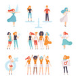 young women of different nationalities set girls vector image