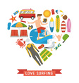 Love Surfing Heart Concept vector image