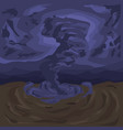 a terrifying tornado against the background of a vector image