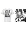 african safari hunting club t-shirt print vector image vector image