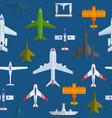 airplanes seamless pattern cartoon vector image