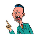 angry skeptical businessman points finger gesture vector image