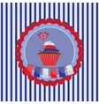 background with cupcake in UK traditional colors vector image vector image