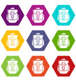 backpacking icons set 9 vector image vector image