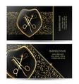 beauty salon business card golden black scissors