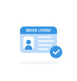 blue driver license card icon vector image vector image