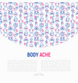 body aches concept with thin line icons vector image