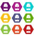 box of milk icon set color hexahedron vector image vector image