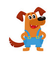brown funny dog puppy character in blue overalls vector image vector image