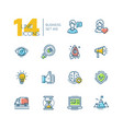 business - colored modern single line icons set vector image vector image