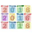 Calendar 2016 on a colored background vector image vector image