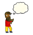 cartoon excited bearded man with thought bubble